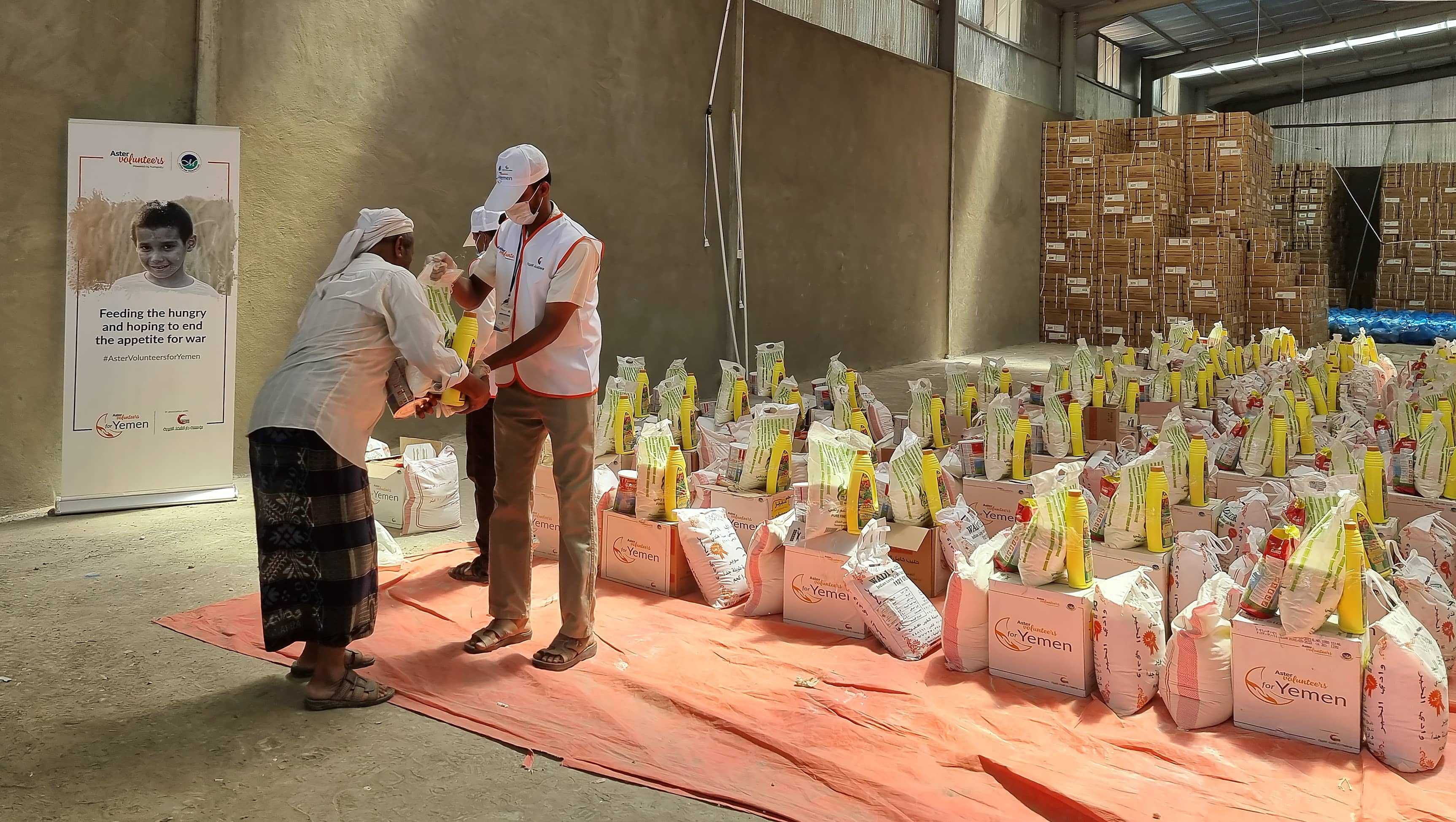 Aster Volunteers supports 5000 individuals with food kits from distribution centres set up in Seiyun Tarim and Shibam towns from August 152021