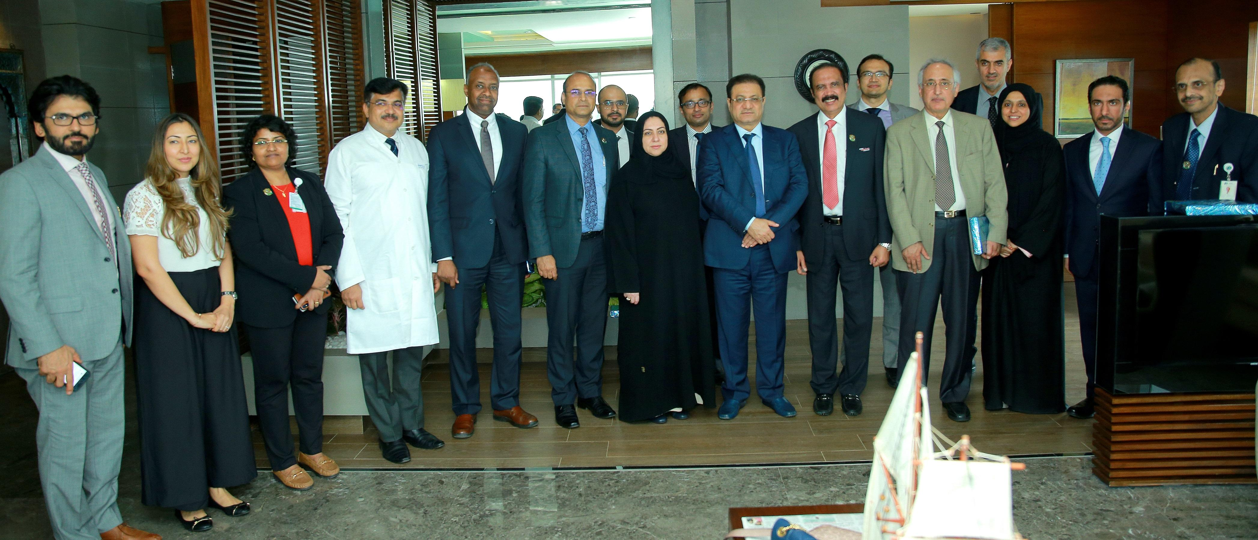 HE Humaid Al Qutami Director General of the DHA and his team of delegates with Dr Azad Moopen Chairman and MD of Aster DM Healthcare and team at Aster Medcity hospital Kochi
