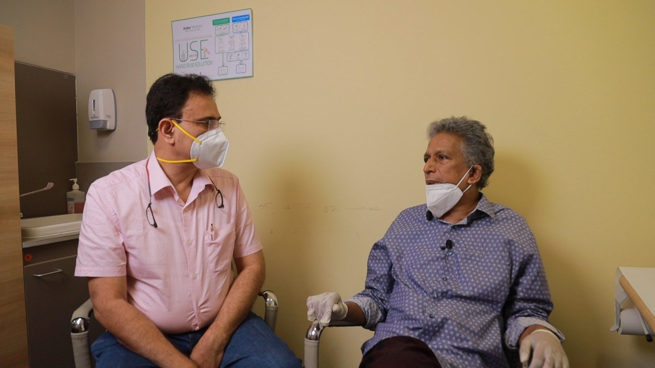 Dr Manoj Nair with Sri Lankan patient