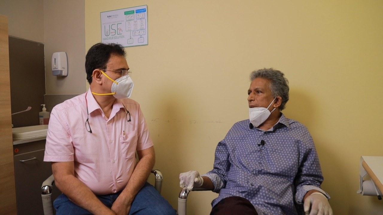 Dr Manoj Nair with Sri Lankan patient