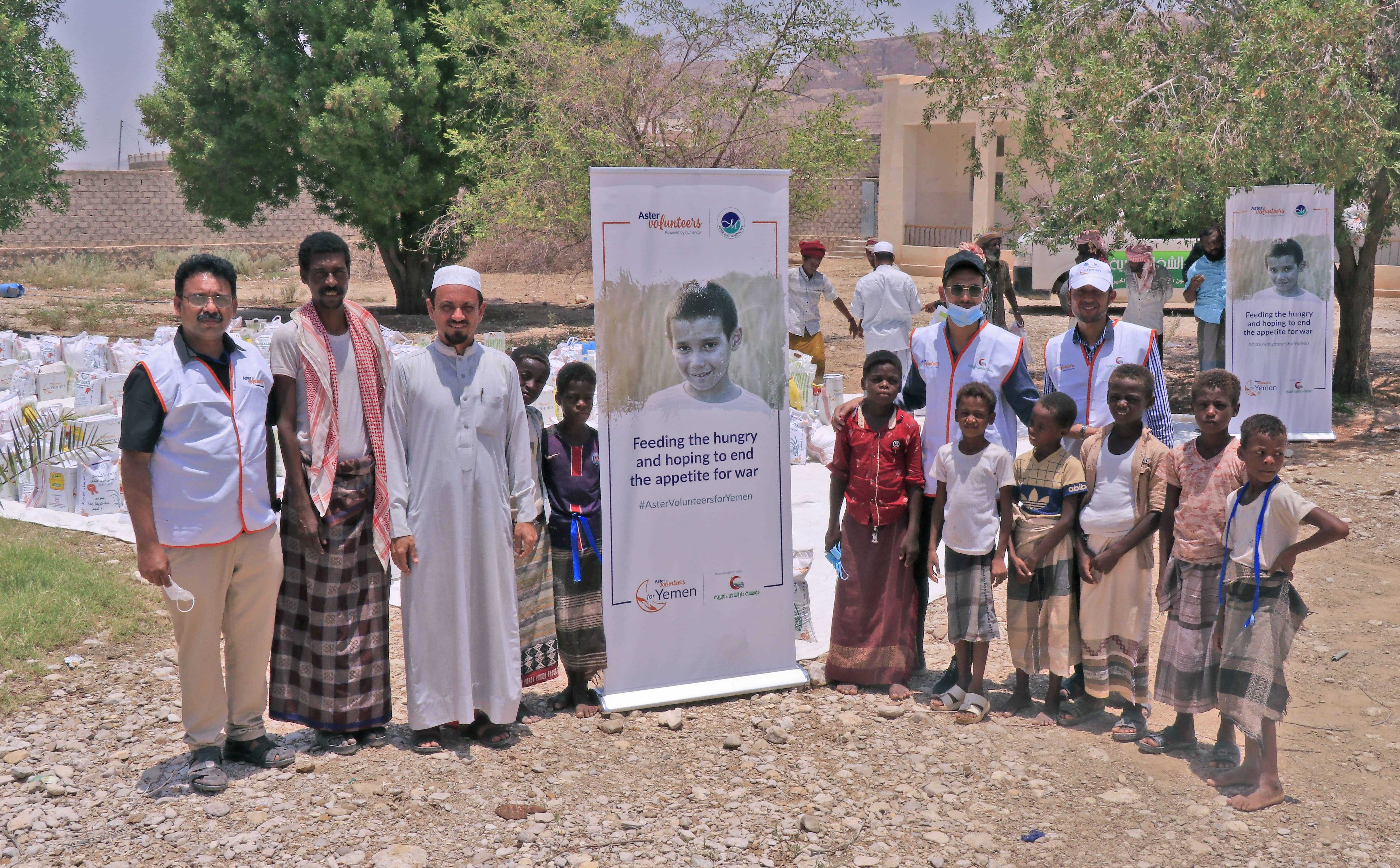Mr Jaleel PA Head CSR at Aster DM Healthcare extreme left along with external volunteers donated 75 tonnes of food to underprivileged families in Yemen